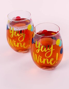 Slant Collections Dot Yay Wine Glass