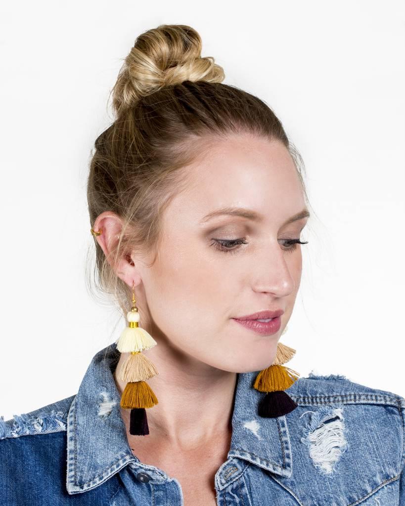 Siam Hills Tribe Tiered Tassel Earrings