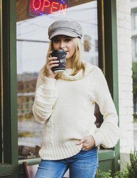 Blush Noir Bell Sleeve Cable Sweater