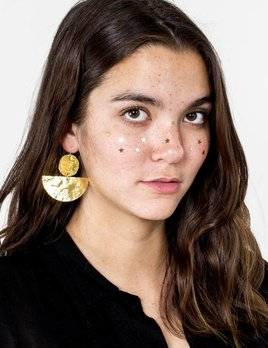 M. Liz Disk and Half Moon Earring Large