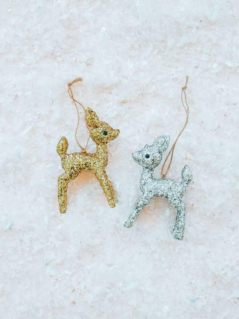 Cody Foster Kitsch Glitter Deer Ornament Gold