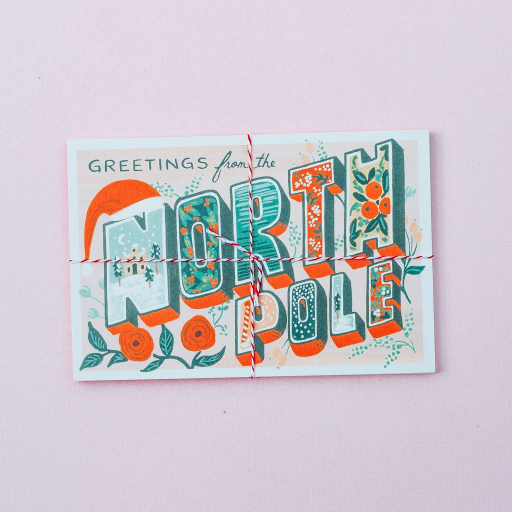 Rifle Paper Co Greetings From The North Pole Postcard