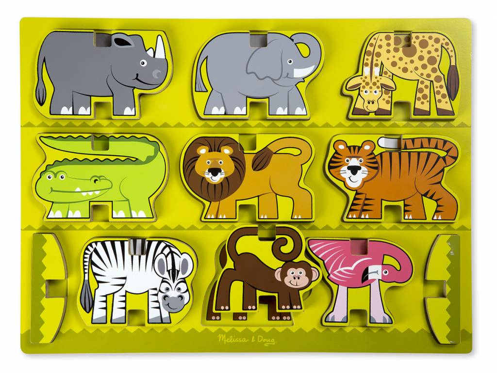 Melissa & Doug Stacking Wooden Chunky Puzzle - Zoo Animals