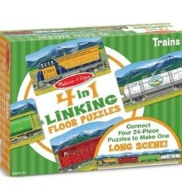 Melissa & Doug Trains 4 in 1 Linking Floor Puzzle 96pc