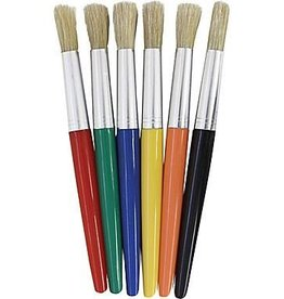 Pacon Corporation Round Bristle Plastic Handle Brushes - 6 asst colors size 10