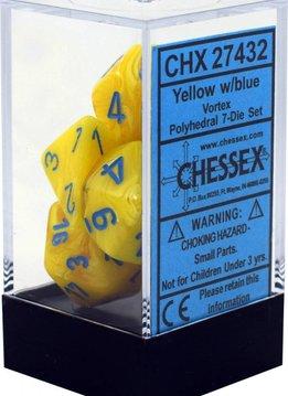 Yellow w/blue Vortex Polyhedral 7-die set