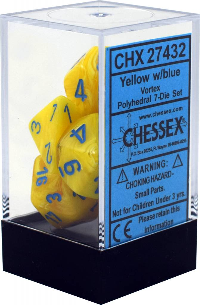 Yellow w/blue Vortex Polyhedral 7-die set