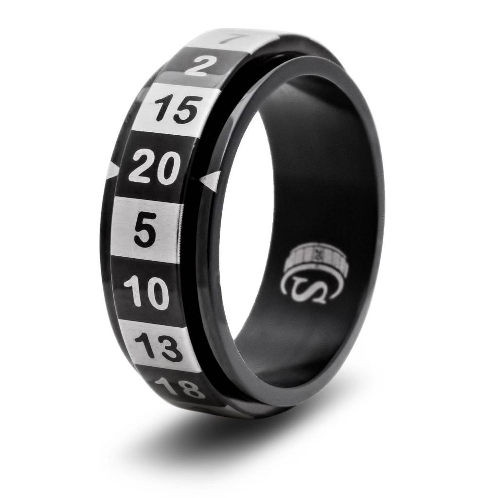 R20 Dice Ring - Black Size 10