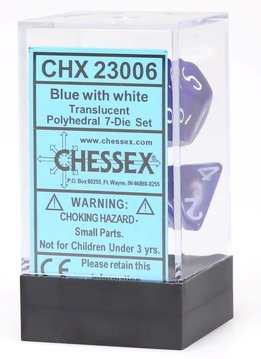 Trans: 7pc Blue/White dice set