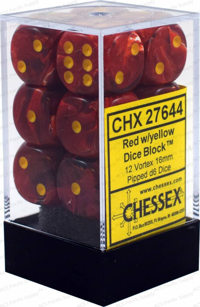 27644 Red w/yellow Dice Block 12 Vortex 16mm d6
