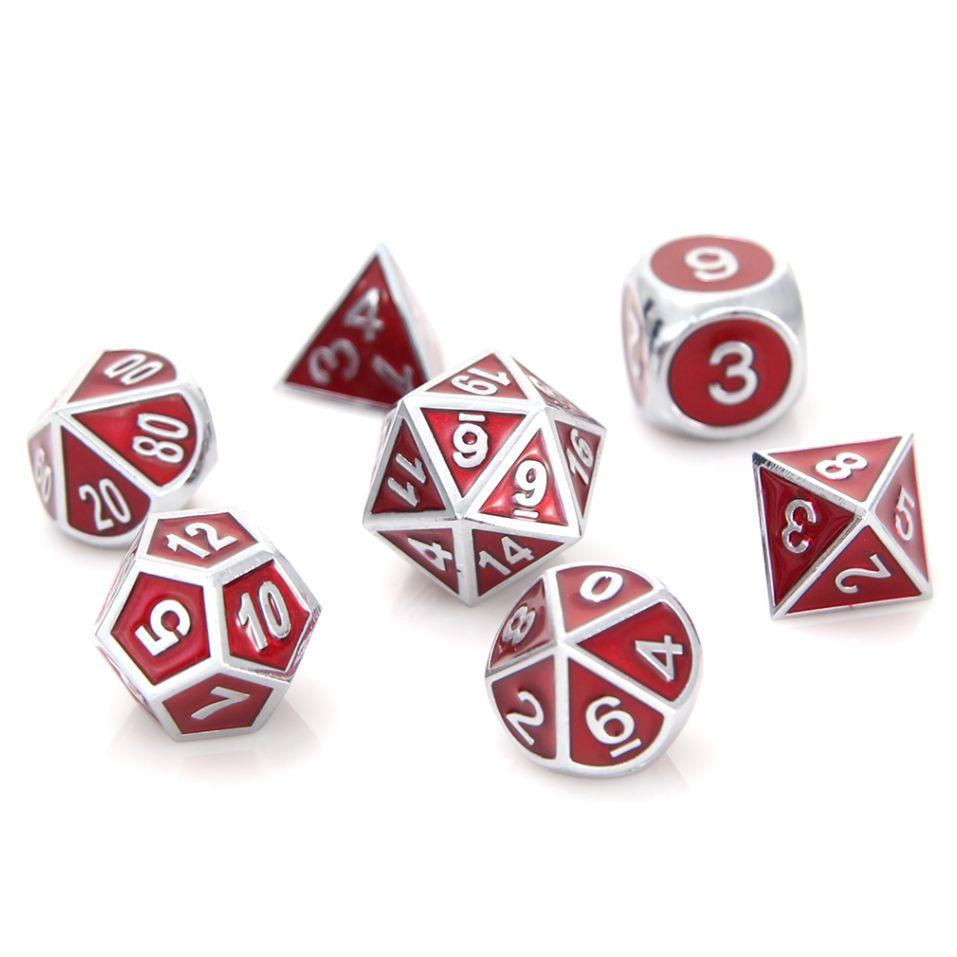 Metal Gemstone Dice Set - Silver Ruby