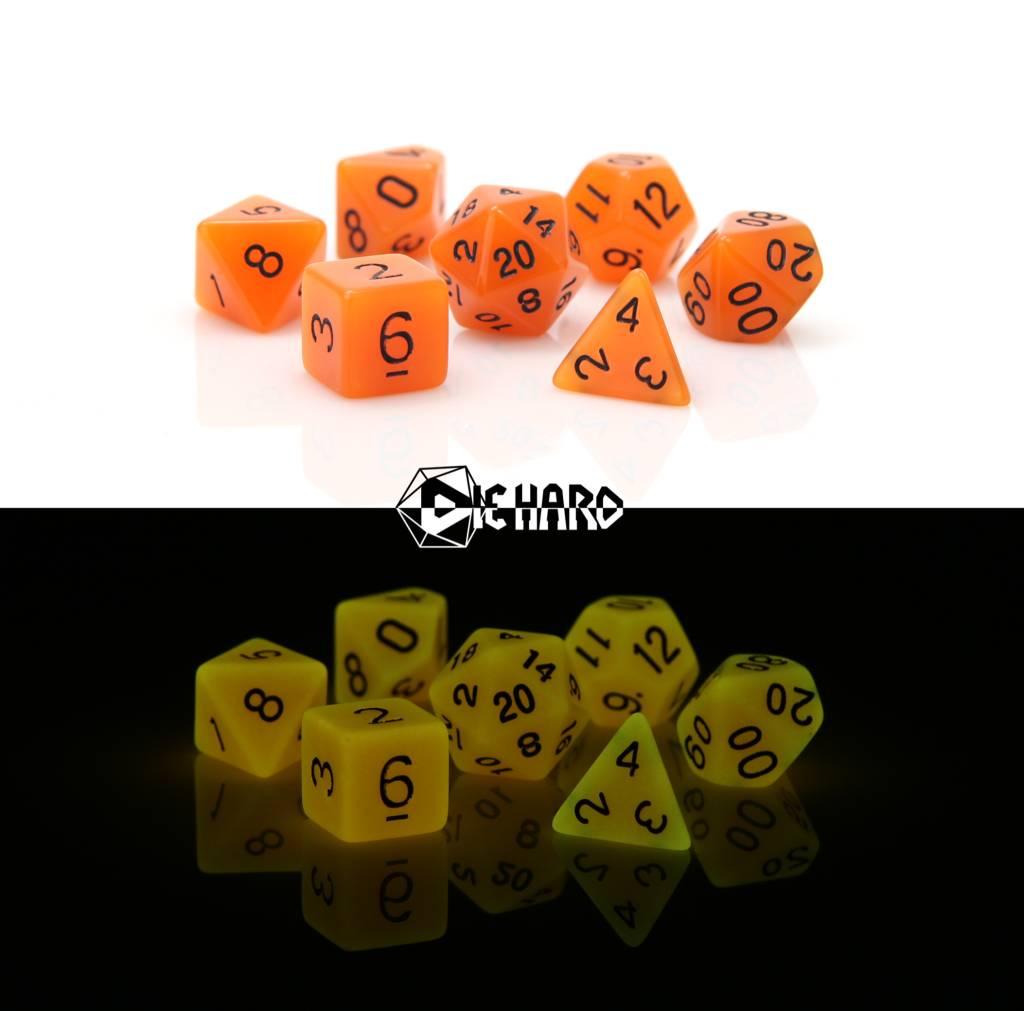 RPG 7 Dice Set - Glow in the Dark Orange