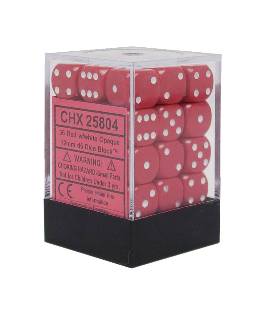 25804 Opaque 12mm d6 Red/white Dice Block (36 dice)