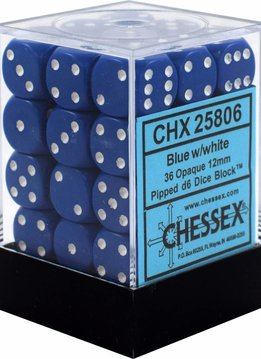 25806 Opaque 12mm d6 Blue/white Dice Block (36 dice)
