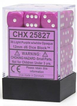 25827 Opaque 12mm d6 Light Purple/white Dice Block (36 dice)