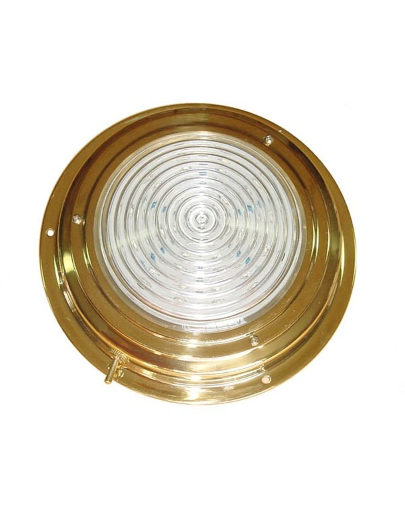 """BRASS LED DOME LIGHT 4"""" RED/WHITE"""
