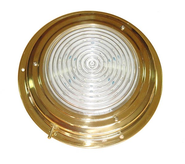 "AAA BRASS LED DOME LIGHT 4"" WHITE *CLEARANCE*"
