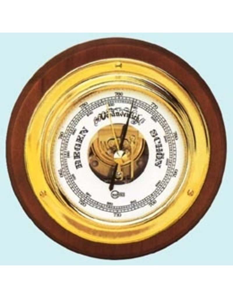 VICTORY VICTORY WOOD MOUNTED BRASS BAROMETER