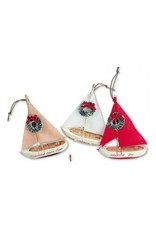 CAPE SHORE CHRISTMAS ORNAMENT - WOODEN SAILBOAT WITH WREATH (ASSORTED COLOURS)