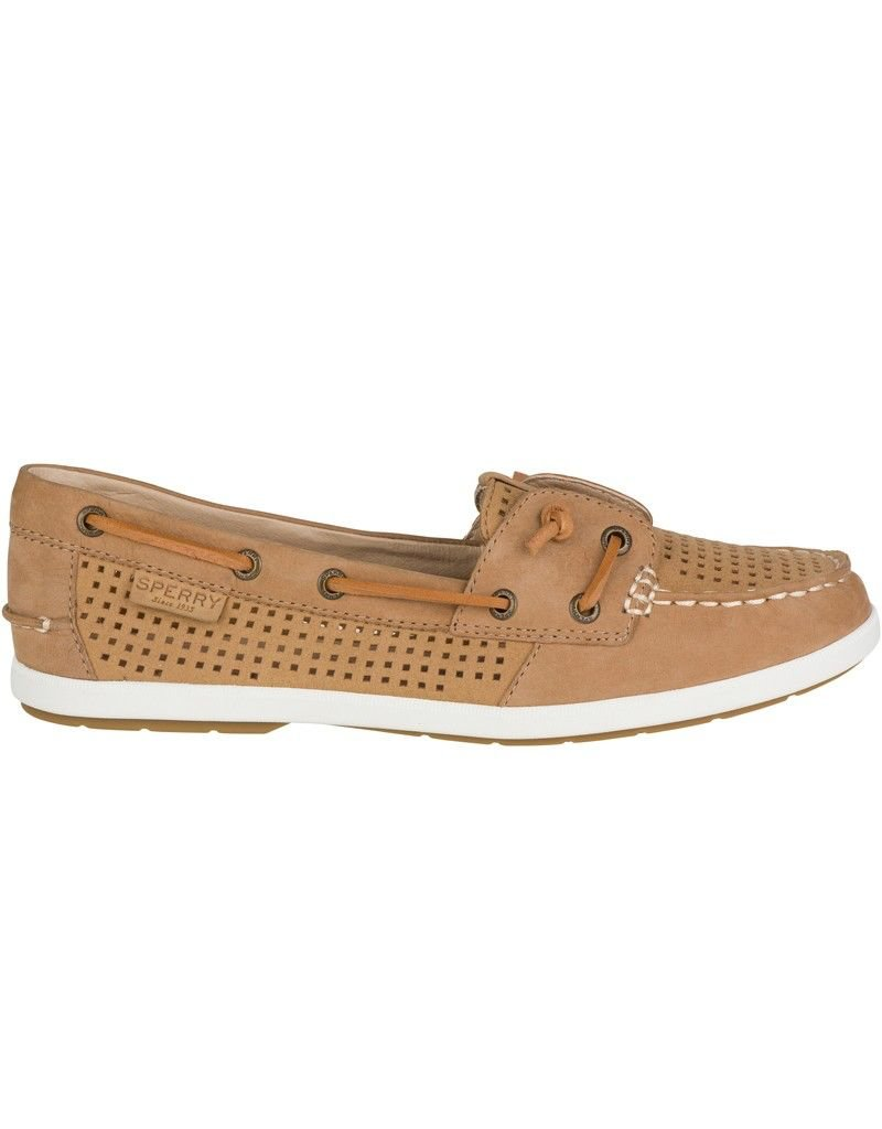 SPERRY SPERRY COIL IVY TAN PERFORATED LEATHER BOAT SHOE (WOMEN'S) *CLEARANCE*