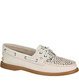 SPERRY SPERRY AUTHENTIC ORIGINAL VILLA PERFORATED IVORY BOAT SHOE (WOMEN'S) *CLEARANCE*