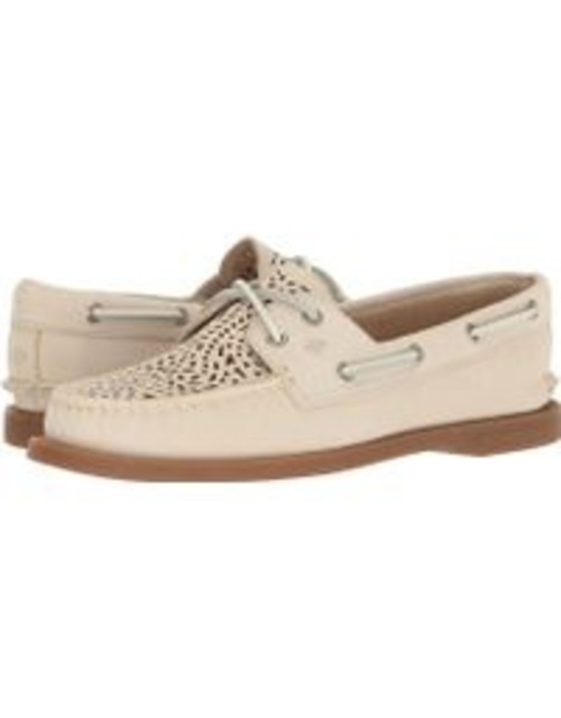 SPERRY SPERRY AUTHENTIC ORIGINAL VILLA PERFORATED IVORY BOAT SHOE (WOMEN'S)