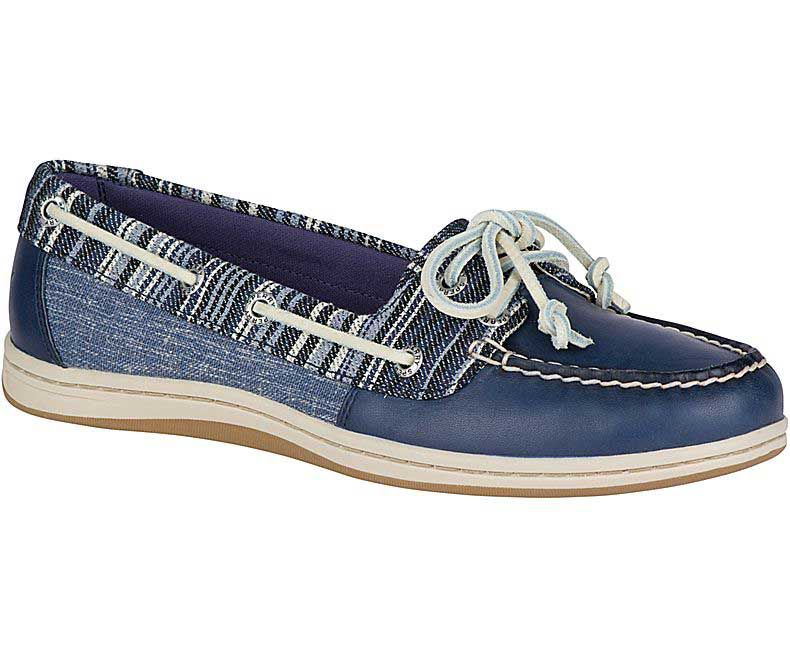 SPERRY SPERRY FIREFISH DENIM STRIPE NAVY BOAT SHOE (WOMEN'S)