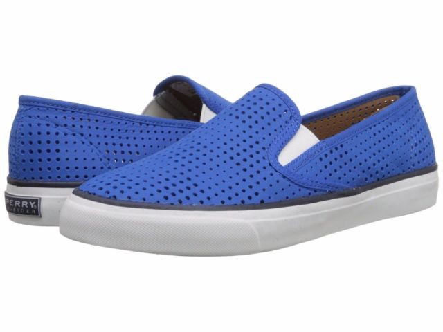 SPERRY SPERRY SEASIDE PERFORATED LEATHER COBALT BOAT SHOE (WOMEN'S) *CLEARANCE*