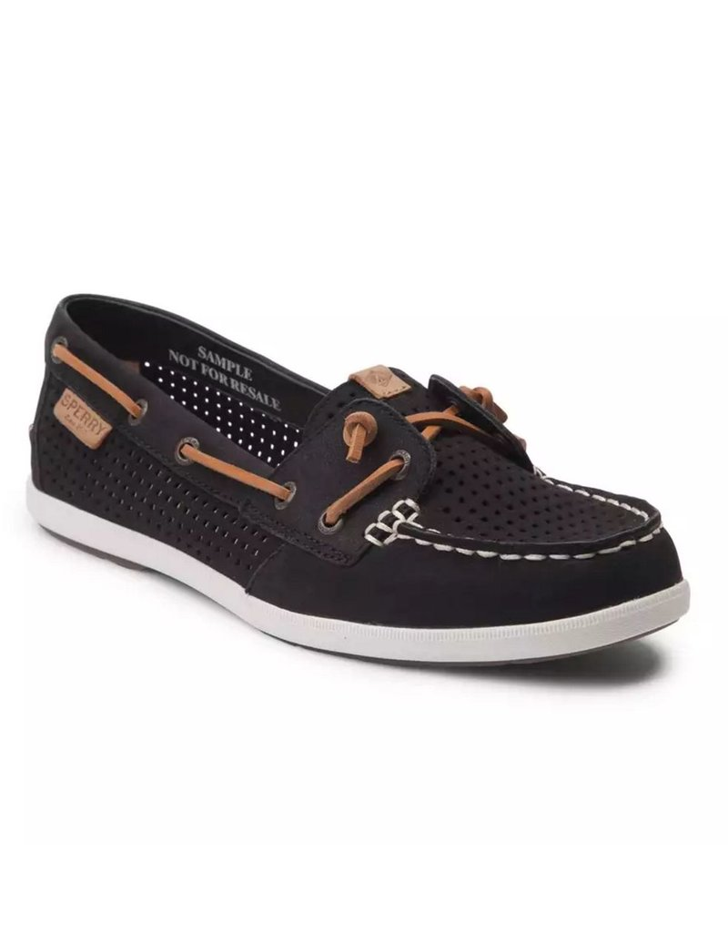 SPERRY SPERRY COIL IVY BLACK PERFORATED LEATHER BOAT SHOE (WOMEN'S) *CLEARANCE*