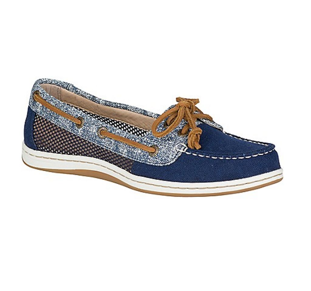 SPERRY SPERRY FIREFISH CANVAS SAND NAVY BOAT SHOE (WOMEN'S) *CLEARANCE*