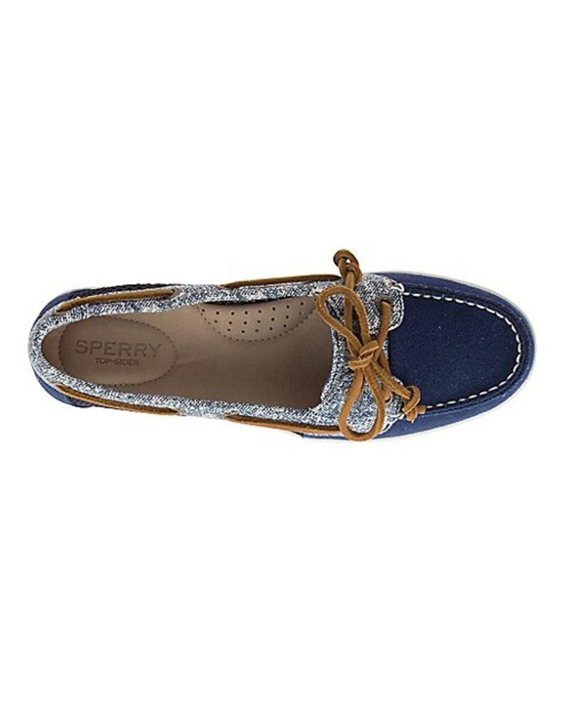SPERRY SPERRY FIREFISH CANVAS SAND NAVY BOAT SHOE (WOMEN'S)