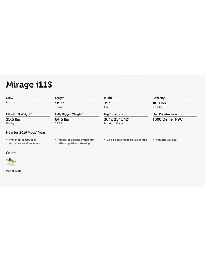 HOBIE® HOBIE MIRAGE INFLATABLE SINGLE 11' KAYAK i11S 2017 (MANGO/SLATE)