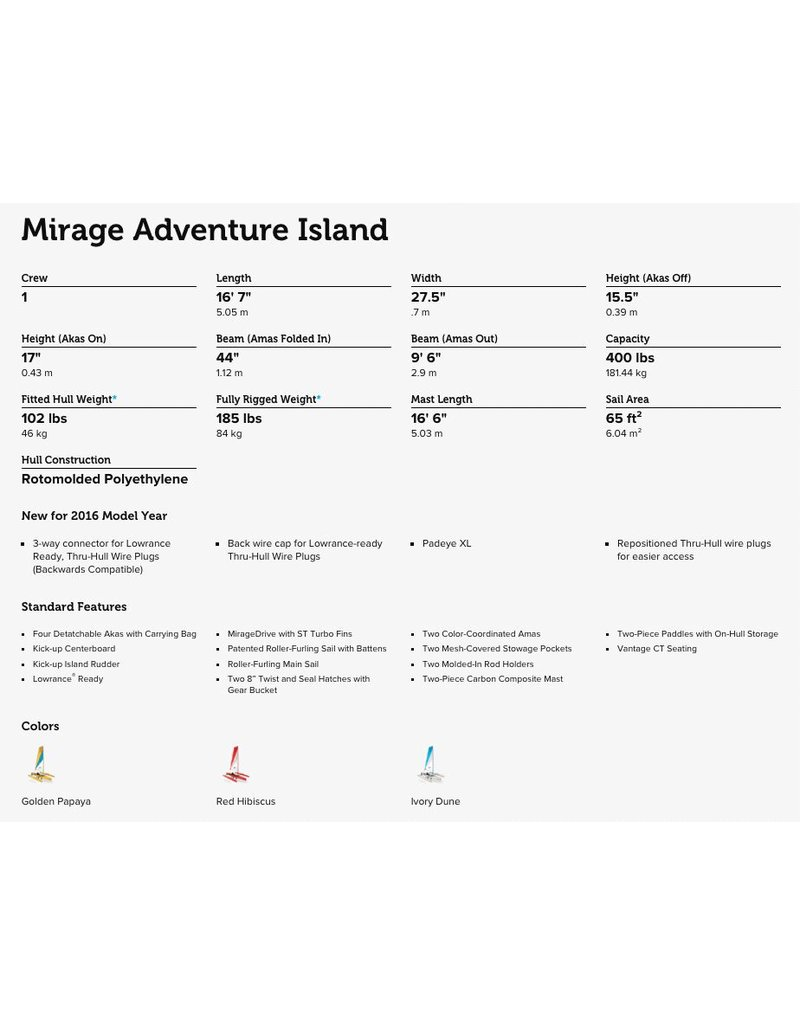 HOBIE® HOBIE MIRAGE ADVENTURE ISLAND SINGLE 16' KAYAK 2017