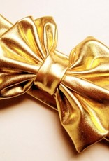 blue classic boutique kids' products 2 metallic messy bow, Gld, one size