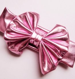 metallic messy bow, lt pink, one size