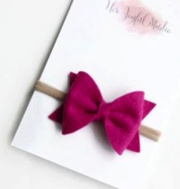 fuschia felt bow headband, one size
