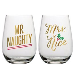 slant FINAL SALE set of 2 20oz Mr Naughty & Mrs Nice Stemless Wine Glasses