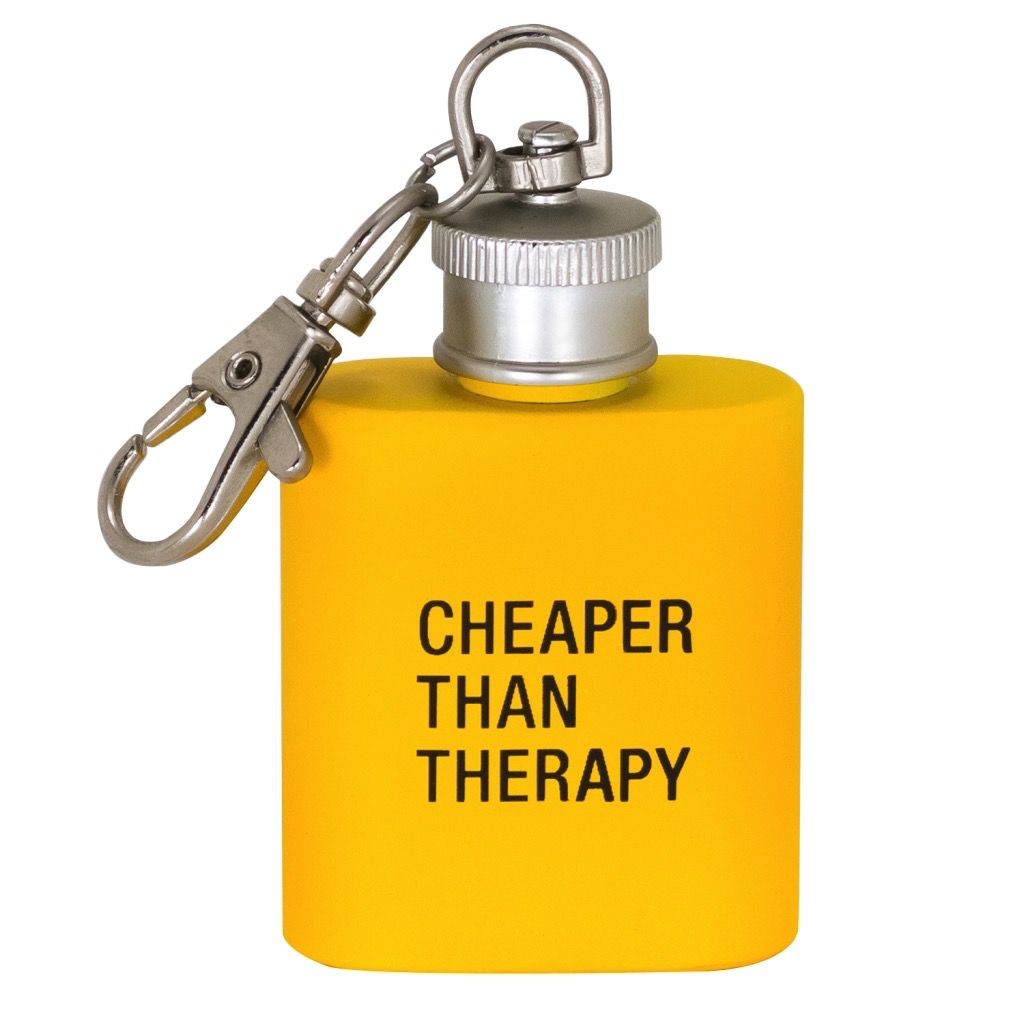 cheaper than therapy key ring flask