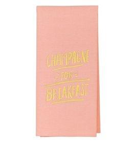 champagne for breakfast tea towel