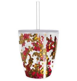 slant 10 oz red & gold confetti cup