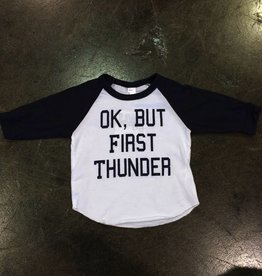 LivyLu youth ok, but first thunder baseball sleeve tee
