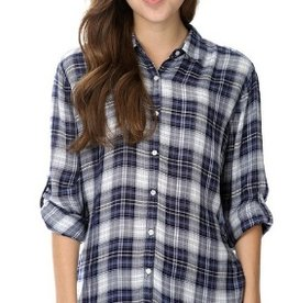 sneak peek white/indigo plaid shirt FINAL SALE