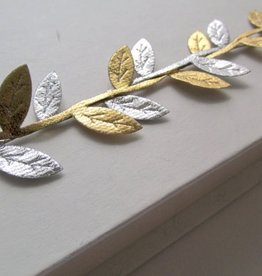 her joyful studio silver and gold leaf headband