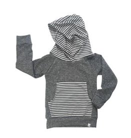 luluandroo adult size dark grey hoodie with grey stripes FINAL SALE