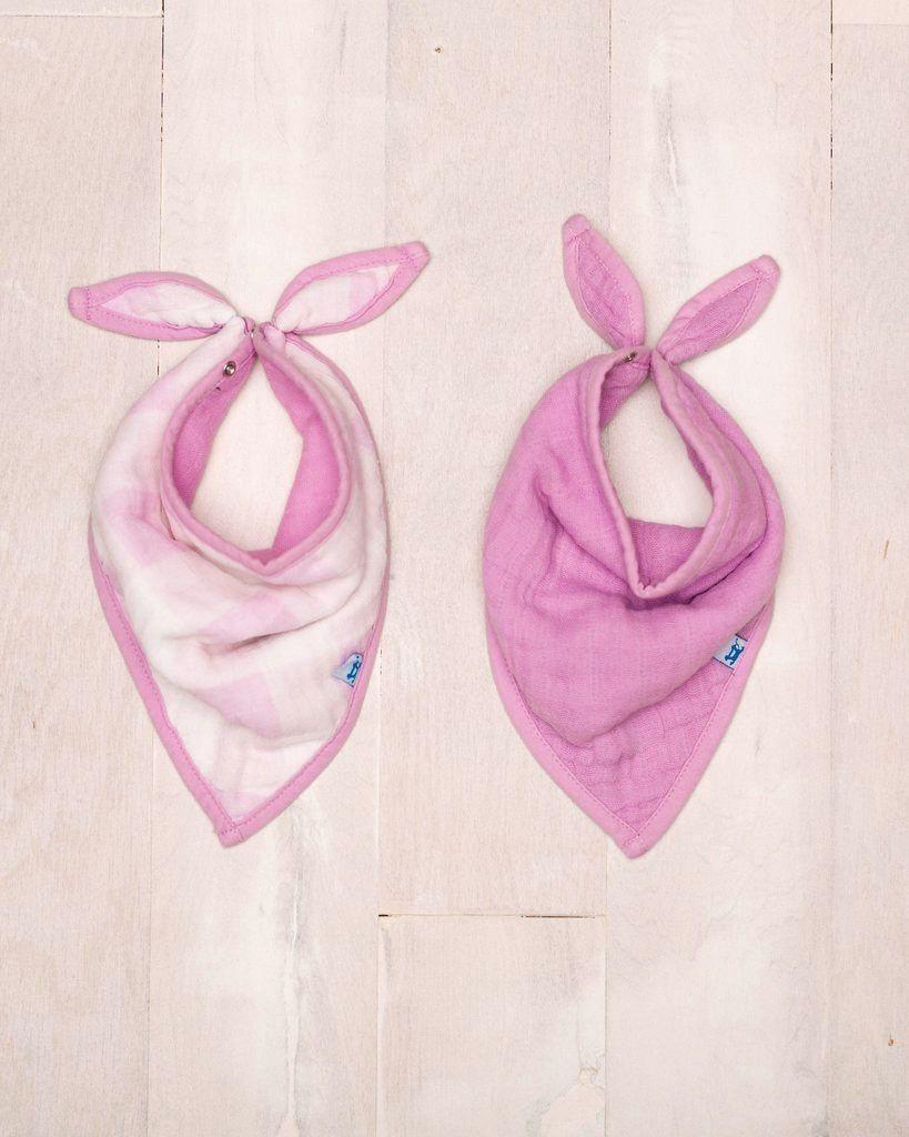 lilac plaid bandana bib set