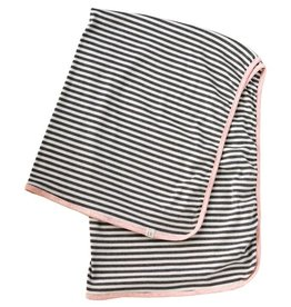 luluandroo pink and gray stripe baby blanket