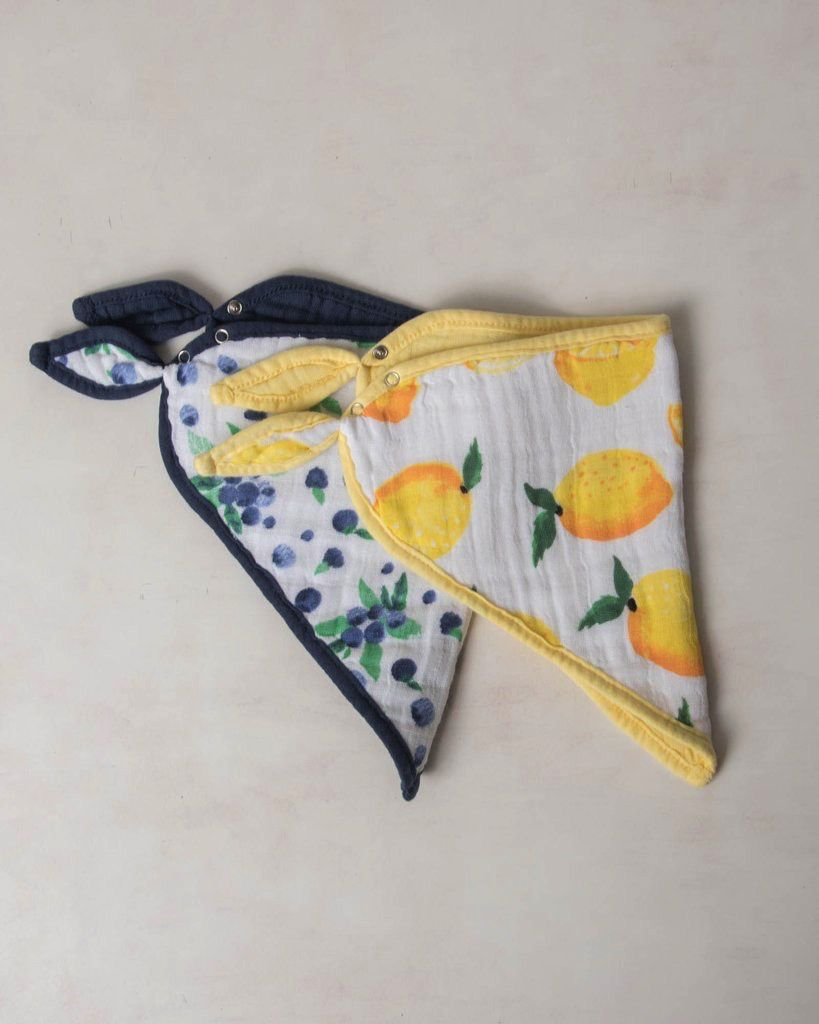cotton muslin bandana bib 2 pack - berry lemonade set