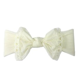 Baby Bling ivory lace trimmed classic knot