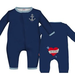 Magnificent Baby navy ahoy sailor embroidered magnetic coverall