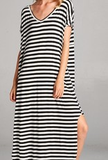 red lolly black striped maxi dress